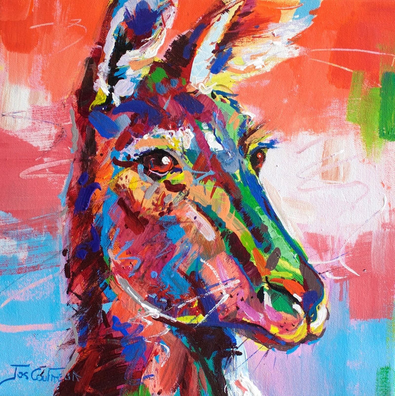 (CreativeWork) Kangaroo by Jos Coufreur. Acrylic Paint. Shop online at Bluethumb.