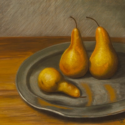 (CreativeWork) Pears on Pewter Ed. 1 of 20 by Barbara Harkness. Print. Shop online at Bluethumb.