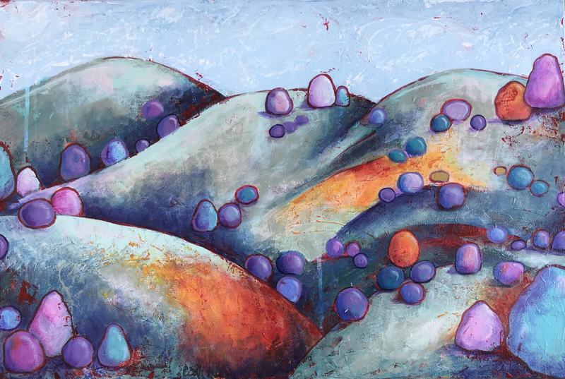 (CreativeWork) Lay of the Land by Kylee Rees. Acrylic Paint. Shop online at Bluethumb.