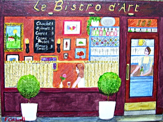 """(CreativeWork) """"Le Bistro d'Art"""" Original Small Acrylic Impressionist Painting of a City Cafe with Female Figures  by Fran Caldwell. Acrylic Paint. Shop online at Bluethumb."""