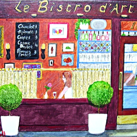 """(CreativeWork) HALF PRICE SALE  """"Le Bistro d'Art"""" Original Small Acrylic Figurative Impressionist Painting of a City Cafe  by Fran Caldwell. Acrylic Paint. Shop online at Bluethumb."""