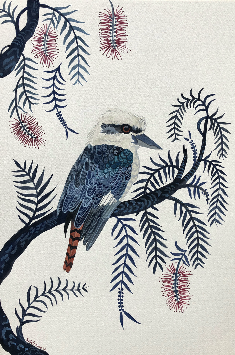 (CreativeWork) Kookaburra on the Callistemon - Commission by Sally Browne. Watercolour Paint. Shop online at Bluethumb.