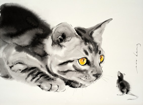 (CreativeWork) Cat and Mouse by Soo Beng Lim. Drawings. Shop online at Bluethumb.
