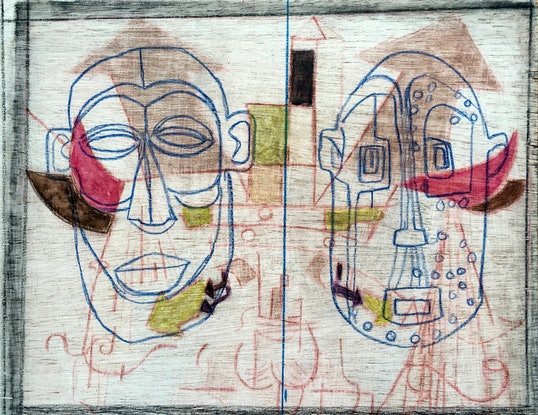 (CreativeWork) Two Masks by Ray David. Mixed Media. Shop online at Bluethumb.