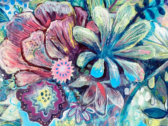 (CreativeWork) Wild Bouquet by Jules Madden. Acrylic Paint. Shop online at Bluethumb.