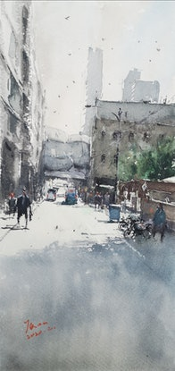 (CreativeWork) little lonsdale st,melbourne by jianqiang xu. Watercolour Paint. Shop online at Bluethumb.