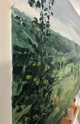 (CreativeWork) 'Last Goodbye' Byron Bay Hinterland by Michelle Keighley. Oil Paint. Shop online at Bluethumb.
