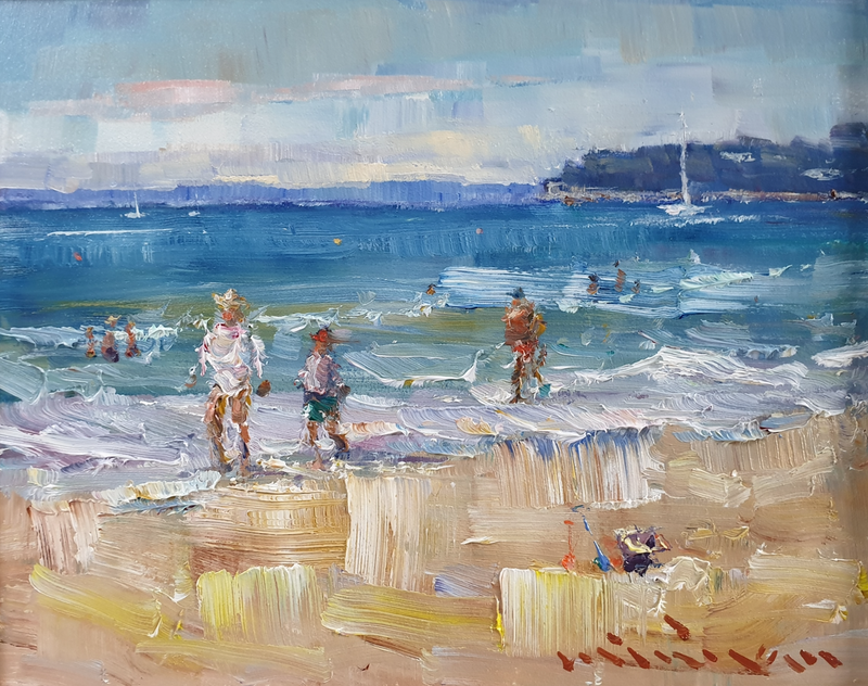 (CreativeWork) Seascape in Sutton Beach by Minhan Cho. Oil Paint. Shop online at Bluethumb.