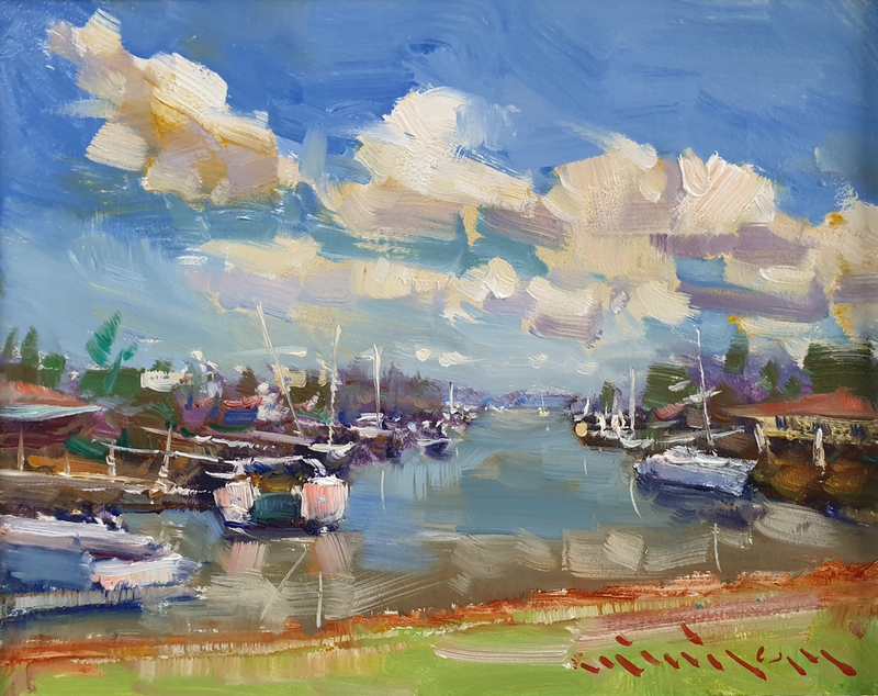 (CreativeWork) Seascape in Kingfisher Canal  by Minhan Cho. Oil Paint. Shop online at Bluethumb.