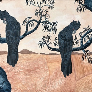 (CreativeWork) Glossy Black Cockatoos and Parched Landscape by Sally Browne. #<Filter:0x00007fc1e94f2e70>. Shop online at Bluethumb.