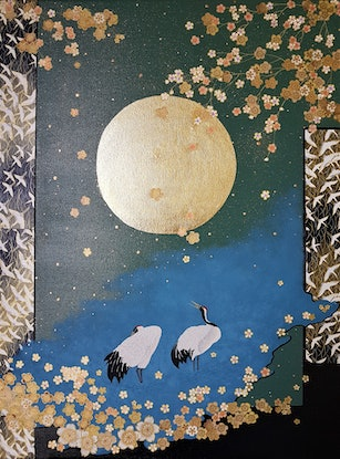 (CreativeWork) Cranes and Blossoms by Marie Delany. Mixed Media. Shop online at Bluethumb.