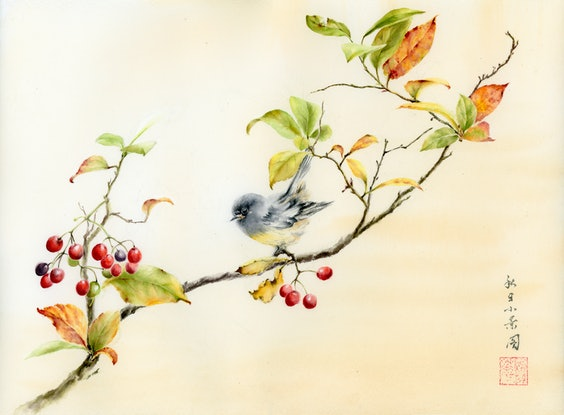 (CreativeWork) A scene in autumn by Cecilia Xiao. Watercolour Paint. Shop online at Bluethumb.