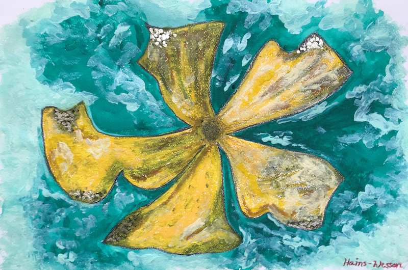 (CreativeWork) Flower in Water by Dr Rachael Hains-Wesson. Acrylic Paint. Shop online at Bluethumb.