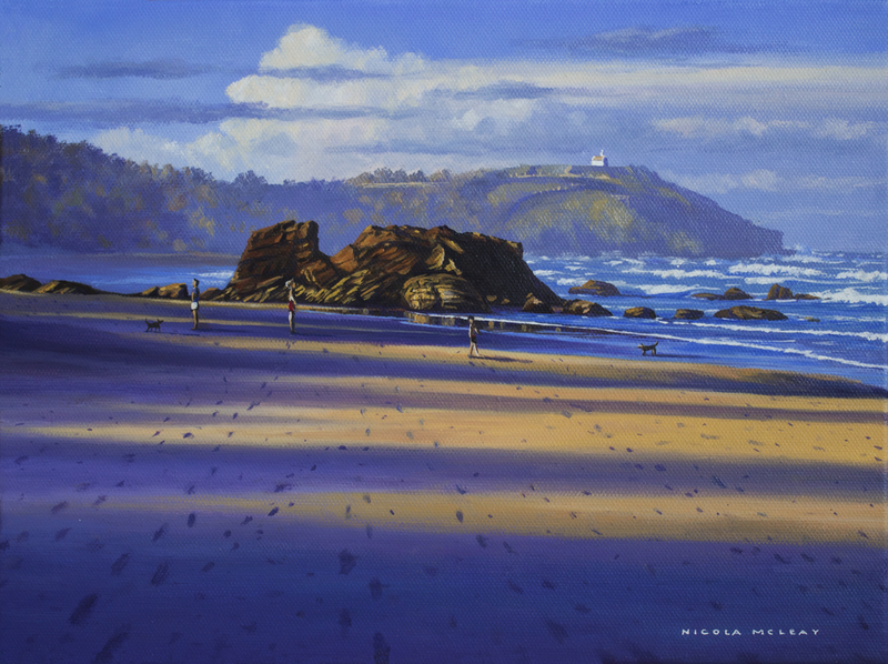 (CreativeWork) Lighthouse Beach Shadows, Port Macquarie, NSW by Nicola McLeay. Oil Paint. Shop online at Bluethumb.