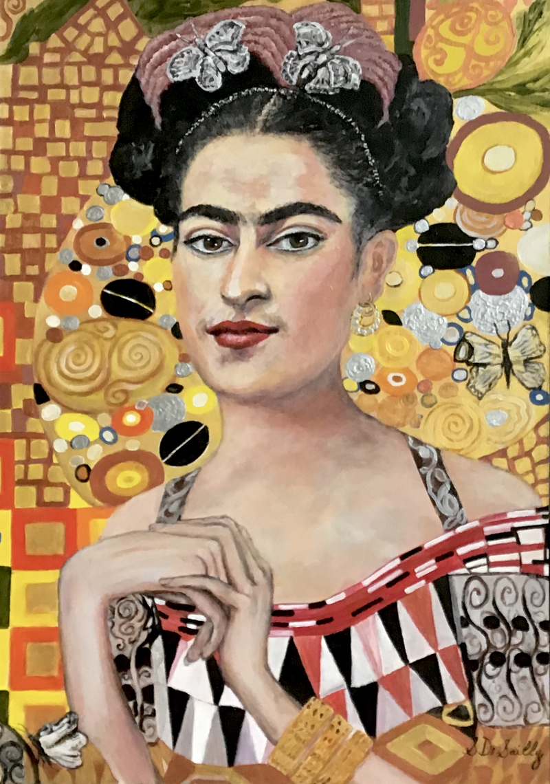 (CreativeWork) Frida Meets Klimt by Sharon DeSailly. Acrylic Paint. Shop online at Bluethumb.