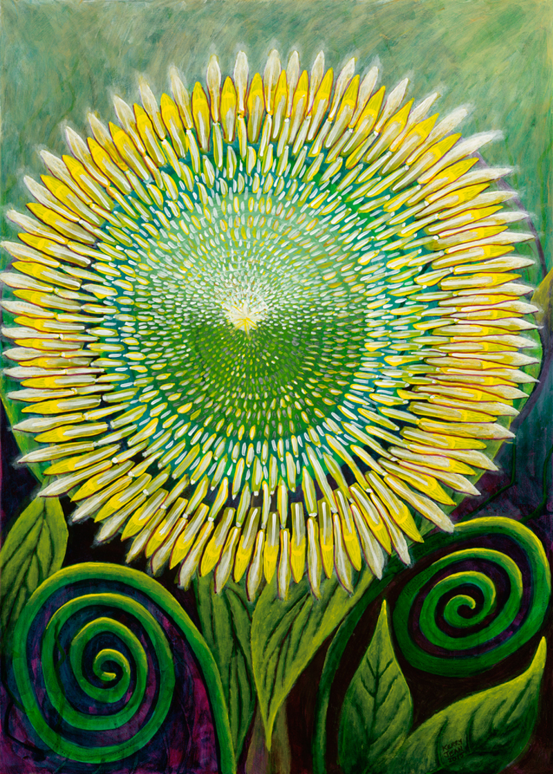 (CreativeWork) Shield Flower by Kerry Keim. Mixed Media. Shop online at Bluethumb.