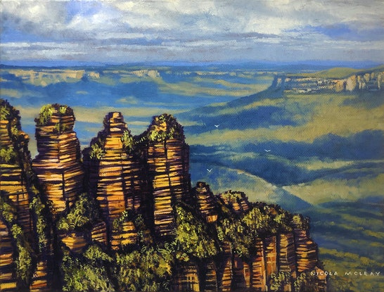 (CreativeWork) The Three Sisters, The Blue Mountains, NSW  by Nicola McLeay. Oil Paint. Shop online at Bluethumb.