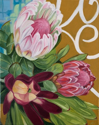 (CreativeWork) Vintage Scrolls and Proteas  - 15%  OFF EOFYS USE CODE AliciaCornwell15 at checkout by Alicia Cornwell. Oil Paint. Shop online at Bluethumb.