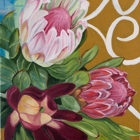 (CreativeWork) Vintage Scrolls and Proteas by Alicia Cornwell. Oil Paint. Shop online at Bluethumb.