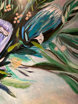 (CreativeWork) Blooms with Dragonfly by Tracey Berthold. Mixed Media. Shop online at Bluethumb.