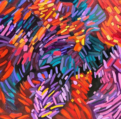 (CreativeWork) Woven in Color by Tracey Berthold. Oil Paint. Shop online at Bluethumb.