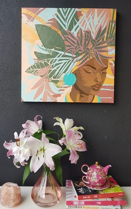 (CreativeWork) 'The Flower Girl' by Jessie Feitosa. Acrylic Paint. Shop online at Bluethumb.