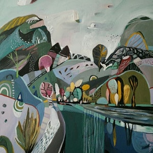 (CreativeWork) Abstract landscape  - Mountain River by Susan Trudinger. Acrylic Paint. Shop online at Bluethumb.