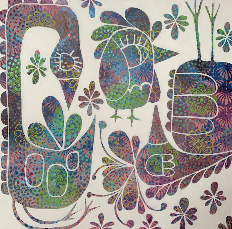 (CreativeWork) Hippie Birdie  by Rebecca Warr. Acrylic Paint. Shop online at Bluethumb.