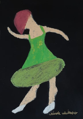 (CreativeWork) Green Vibe Ballerina by Nicole Whittaker. Other Media. Shop online at Bluethumb.