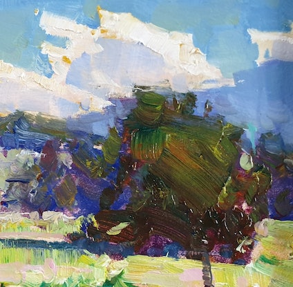 (CreativeWork) Mount Pleasant under clouds  by Minhan Cho. Oil Paint. Shop online at Bluethumb.