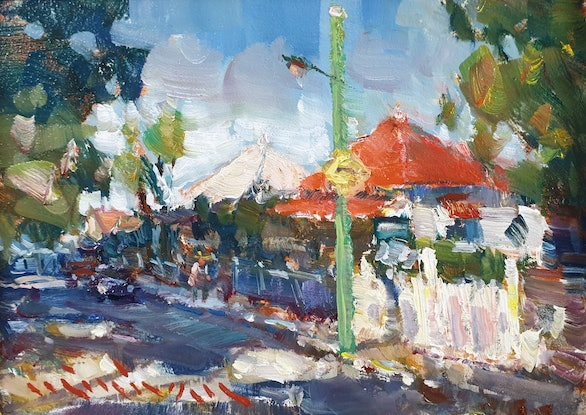 (CreativeWork) Morning light on Ellis street  by Minhan Cho. Oil Paint. Shop online at Bluethumb.