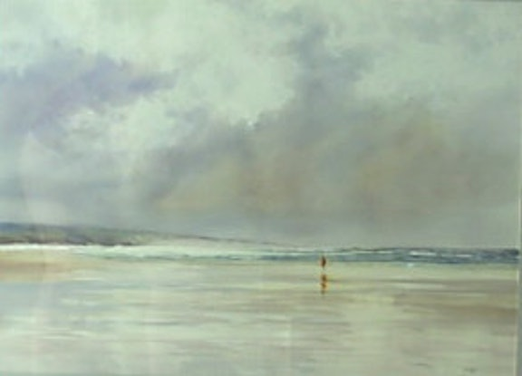 (CreativeWork) Beach stroll by Robin Hines. Watercolour Paint. Shop online at Bluethumb.