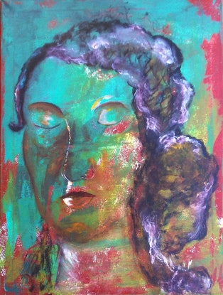 (CreativeWork) Meditating while sitting for a portrait... by Anabela Sobrinho. Acrylic Paint. Shop online at Bluethumb.