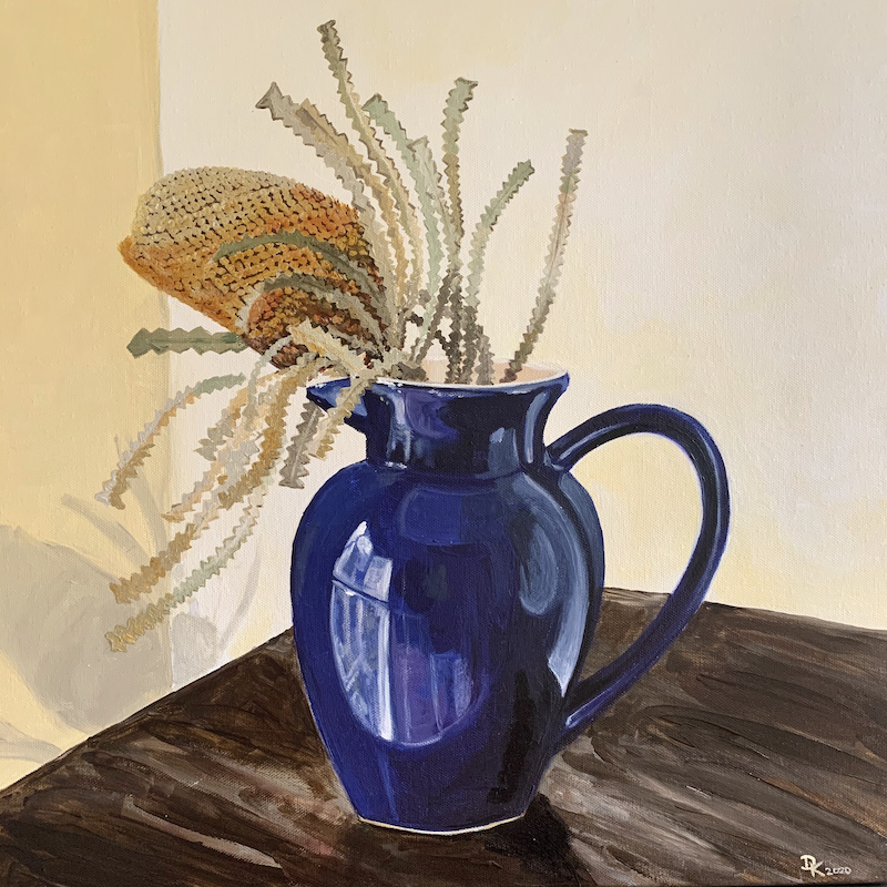 (CreativeWork) Dried Banksia Posing In Blue  by Dominika Keller. Acrylic Paint. Shop online at Bluethumb.