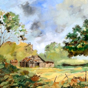 (CreativeWork) Shed by David Lister. Oil Paint. Shop online at Bluethumb.
