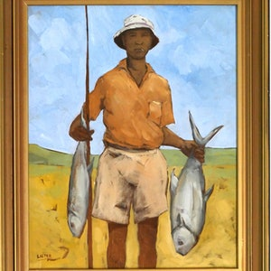 (CreativeWork) Fisherman by David Lister. Oil Paint. Shop online at Bluethumb.