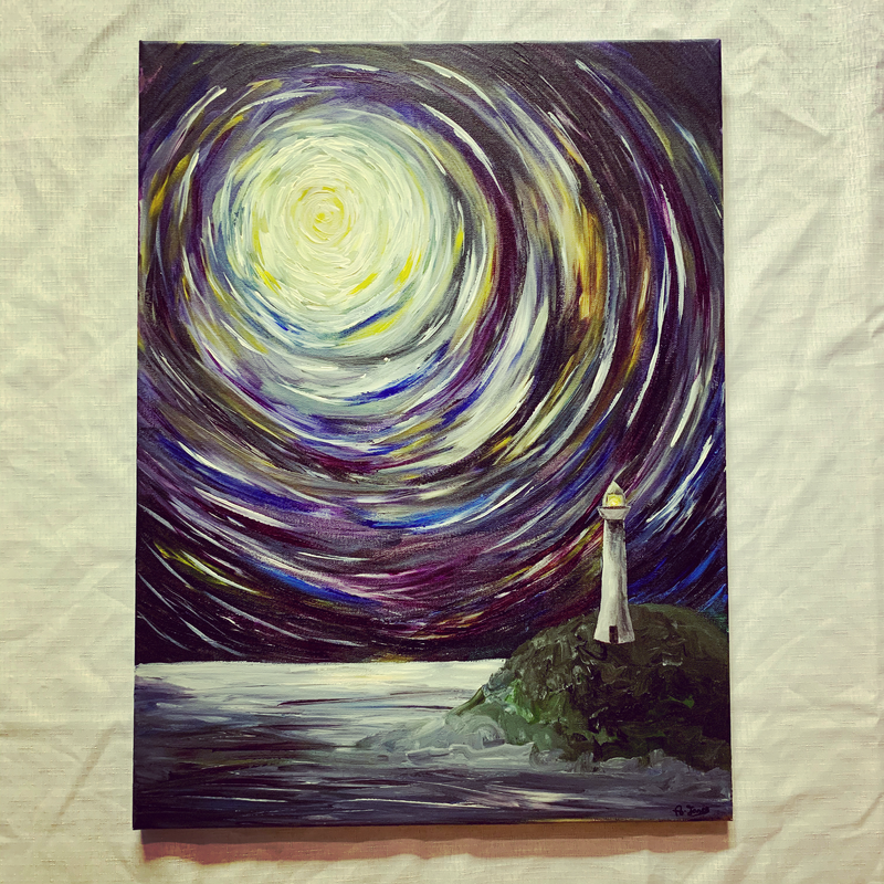 (CreativeWork) The Lighthouse by Abigail Beck. Acrylic Paint. Shop online at Bluethumb.