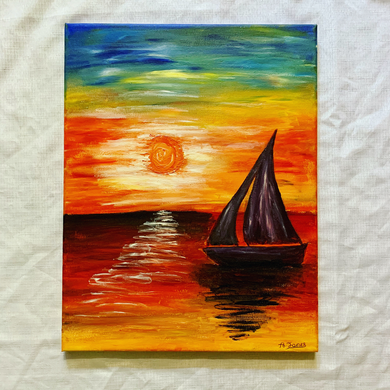 (CreativeWork) Adrift by Abigail Beck. Acrylic Paint. Shop online at Bluethumb.