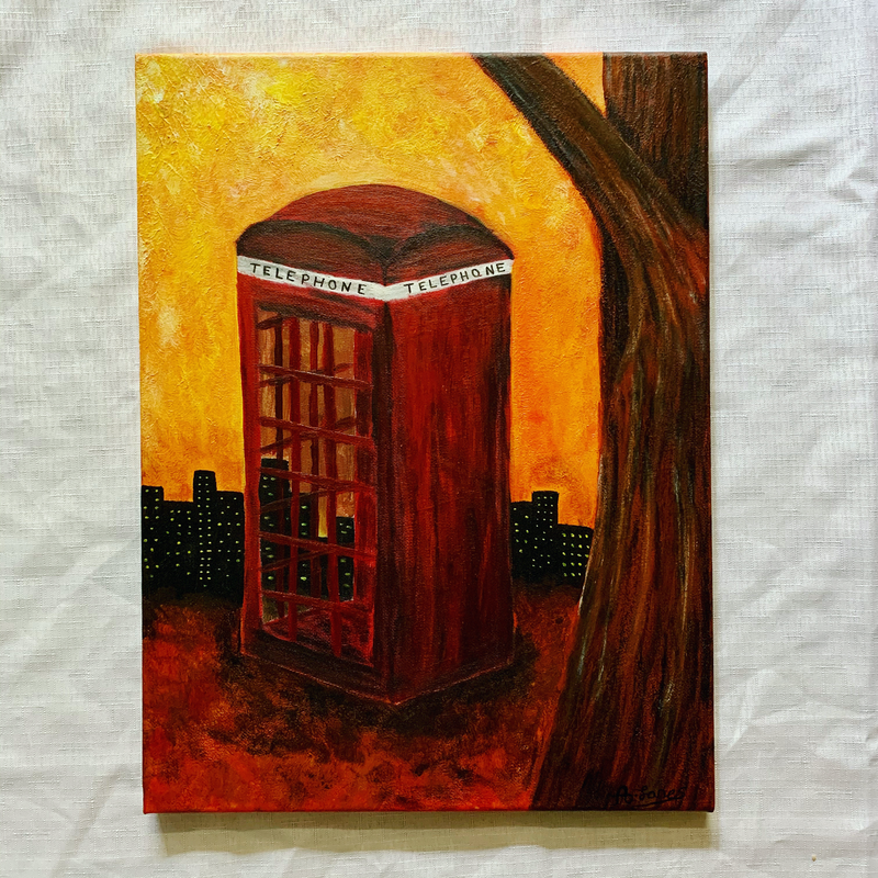 (CreativeWork) The Telephone Box by Abigail Beck. Acrylic Paint. Shop online at Bluethumb.