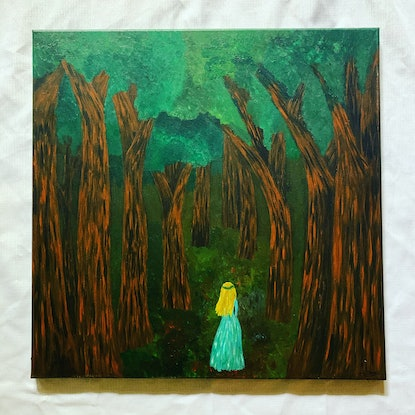 (CreativeWork) Forest Wanderer by Abigail Beck. Acrylic Paint. Shop online at Bluethumb.
