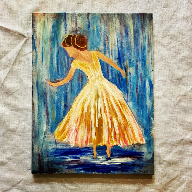 (CreativeWork) Dancing Through the Raindrops by Abigail Beck. Acrylic Paint. Shop online at Bluethumb.