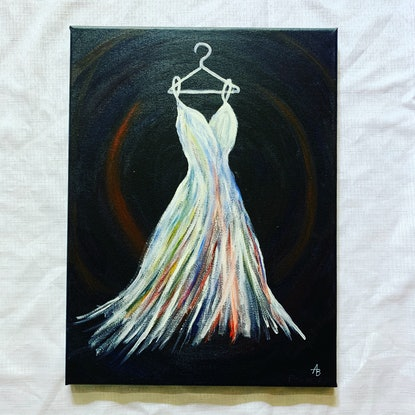 (CreativeWork) The Wedding Dress by Abigail Beck. Acrylic Paint. Shop online at Bluethumb.