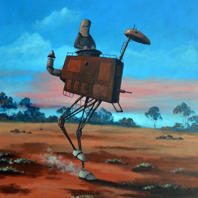 (CreativeWork) Ned Kelly and his mechanical Emu by Max Horst  Sokolowski. Acrylic Paint. Shop online at Bluethumb.