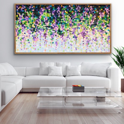 (CreativeWork) Wisteria 2 200x100 large framed textured abstract  by Sophie Lawrence. Acrylic Paint. Shop online at Bluethumb.