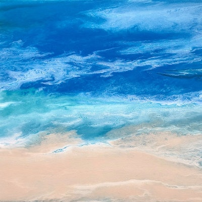 """(CreativeWork) """"Summer Obsession""""  Unique beach art painting by Debra Ryan. Mixed Media. Shop online at Bluethumb."""
