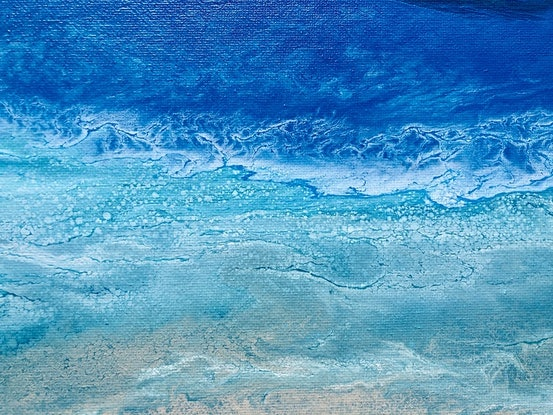 "(CreativeWork) ""Summer Obsession""  Unique beach art painting by Debra Ryan. Mixed Media. Shop online at Bluethumb."