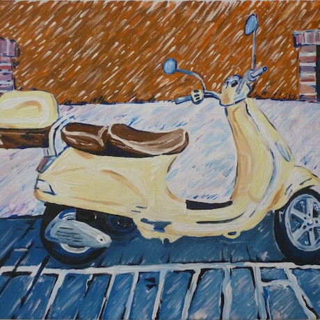(CreativeWork) 'Paris Scooter' by Nicholas Belchamber. Acrylic Paint. Shop online at Bluethumb.