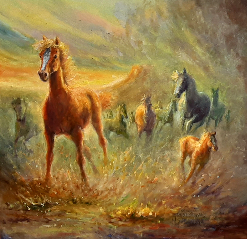 (CreativeWork) Dust storm  by Wayne Strickland. Oil Paint. Shop online at Bluethumb.