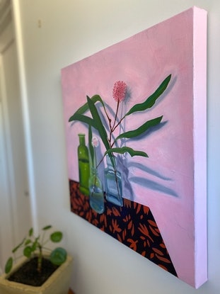 (CreativeWork) Hakea in Bottles by Amanda Ogilby. Oil Paint. Shop online at Bluethumb.