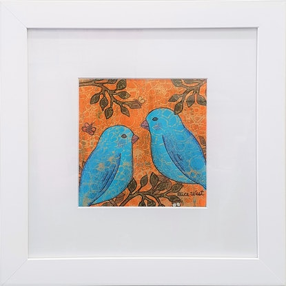 (CreativeWork) Bluebirds In The Summertime by Alice West. Mixed Media. Shop online at Bluethumb.